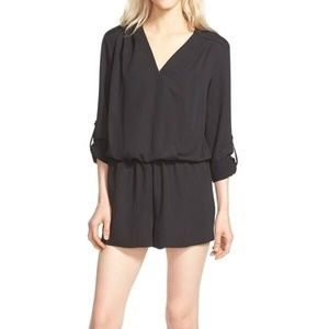 Trouve Black Romper with Rolled Sleeves